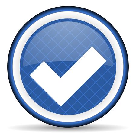 accept blue icon check sign Stock Photo