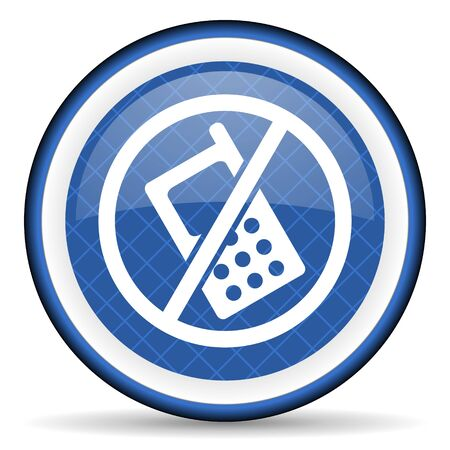 no: no phone blue icon no calls sign