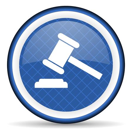 verdict: auction blue icon court sign verdict symbol Stock Photo