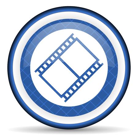 movie sign: film blue icon movie sign cinema symbol