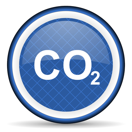 dioxide: carbon dioxide blue icon co2 sign Stock Photo