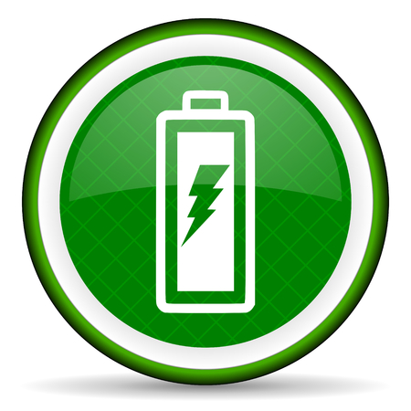 battery green icon power sign photo