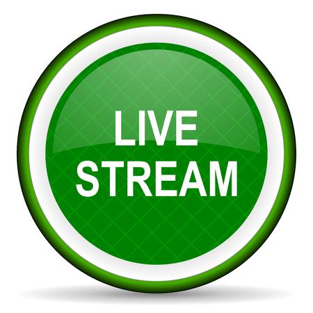 live stream: live stream green icon