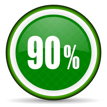 90: 90 percent green icon sale sign Stock Photo