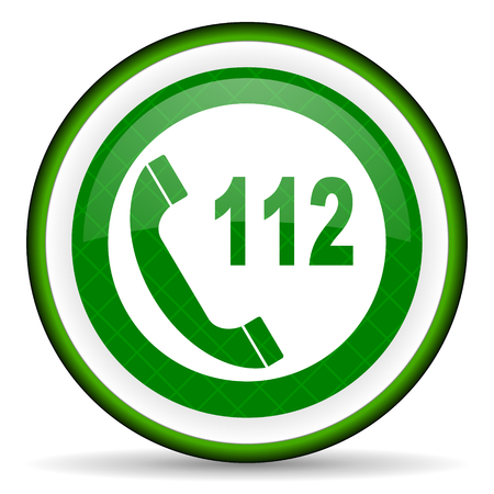 emergency call green icon 112 call sign photo