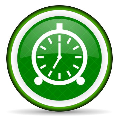 alarm green icon alarm clock sign photo