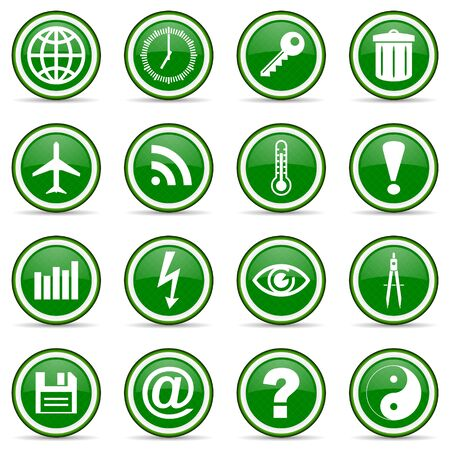 green glossy icon set photo