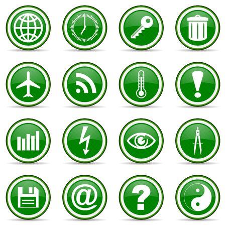 green glossy icon set photo