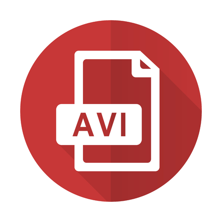 avi: avi file red flat icon