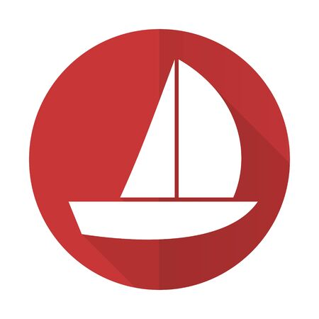 yacht red flat icon sail sign photo