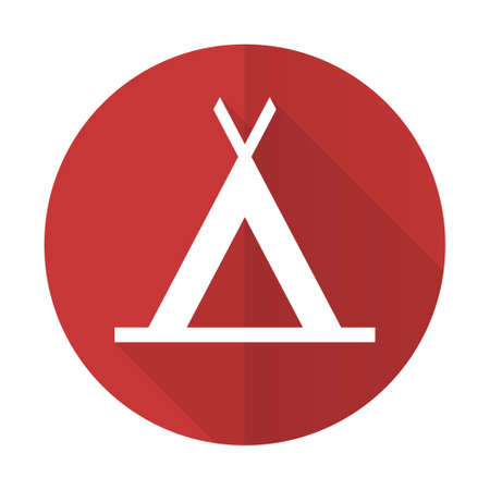 camp red flat icon photo
