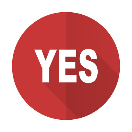 yea: yes red flat icon Stock Photo