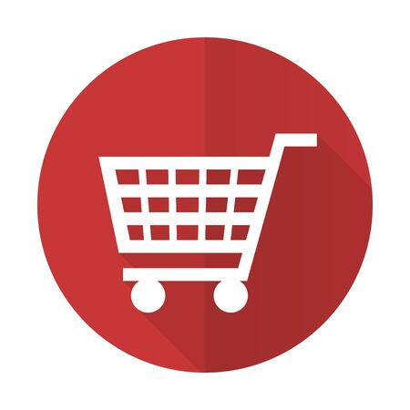 cart red flat icon shop sign photo
