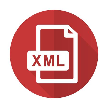 xml: xml file red flat icon