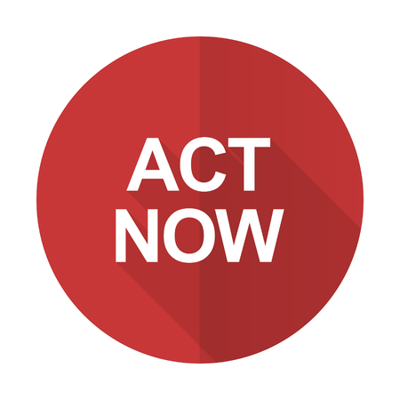 act now red flat icon