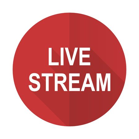 live stream movie: live stream red flat icon