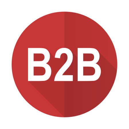 b2b: b2b icono plana roja Foto de archivo