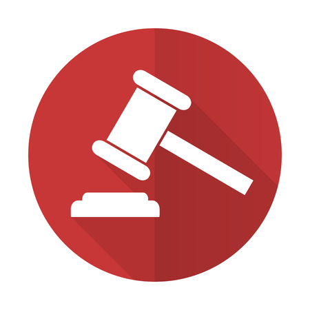 auction gavel: auction red flat icon court sign verdict symbol Stock Photo