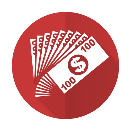 cash money: money red flat icon cash symbol