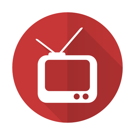 tv red flat icon television sign photo