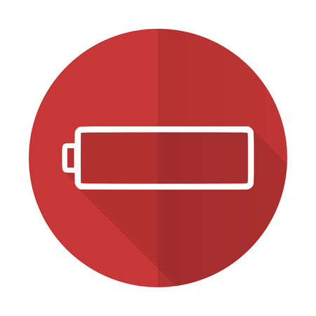 Battery Red Flat Icon Charging Symbol Power Sign Stock Photo