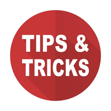 tricks: tips tricks red flat icon