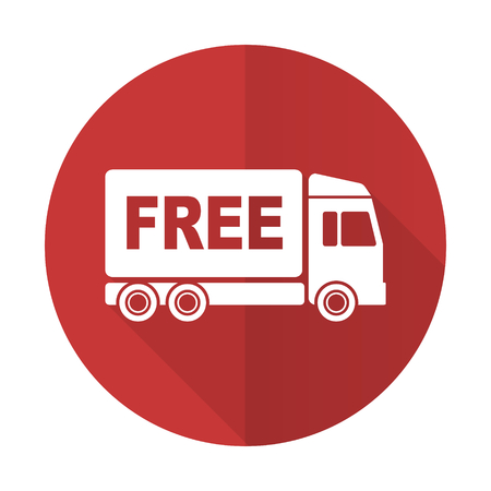 free delivery red flat icon transport sign photo