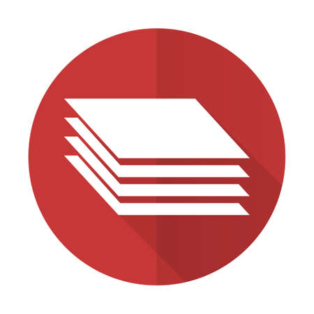 layers: layers red flat icon gages sign