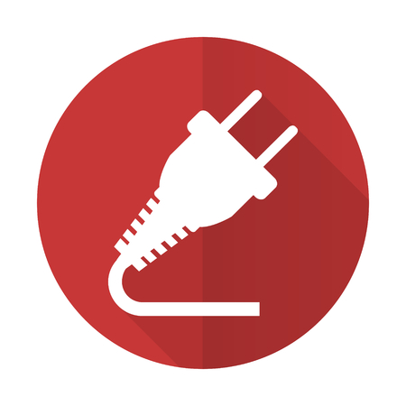 electricity supply: plug red flat icon electricity sign