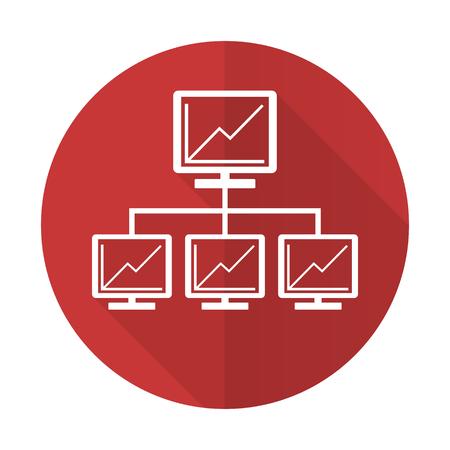 lan: network red flat icon lan sign Stock Photo