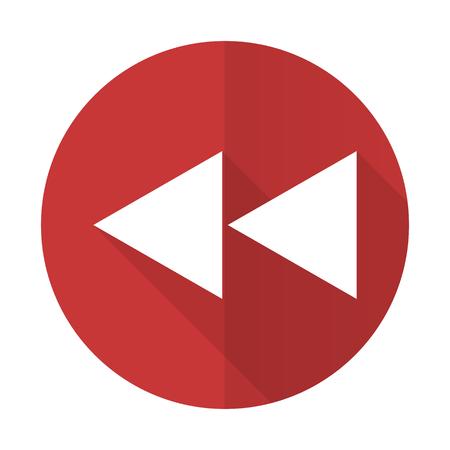 rewind: rewind red flat icon
