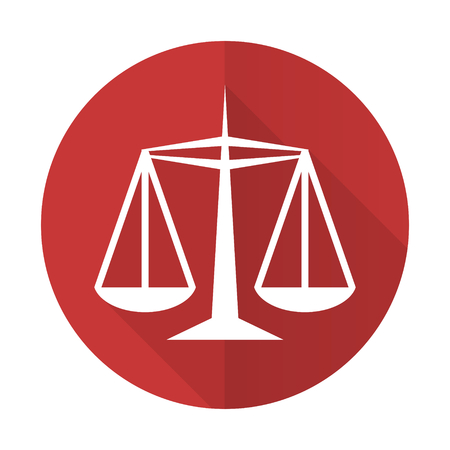 injustice: justice red flat icon law sign Stock Photo