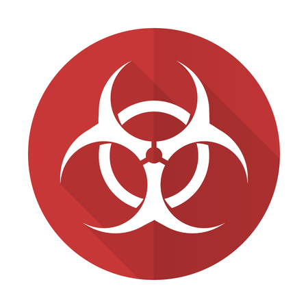 bacterioa: biohazard red flat icon virus sign