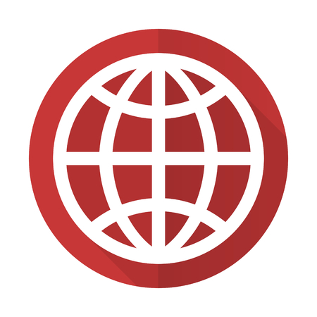 parallels: earth red flat icon