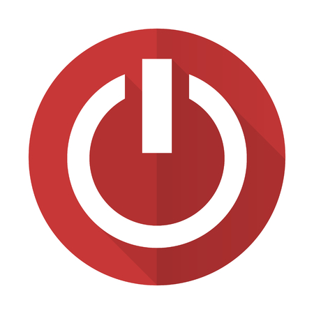 power red flat icon on off sign photo