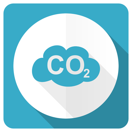 carbon dioxide: carbon dioxide blue flat icon co2 sign