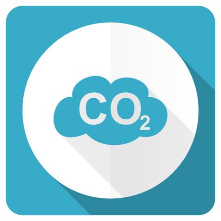 dioxido de carbono: dióxido de carbono icono azul plana signo co2