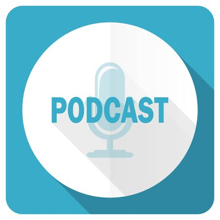 podcasting: podcast blue flat icon