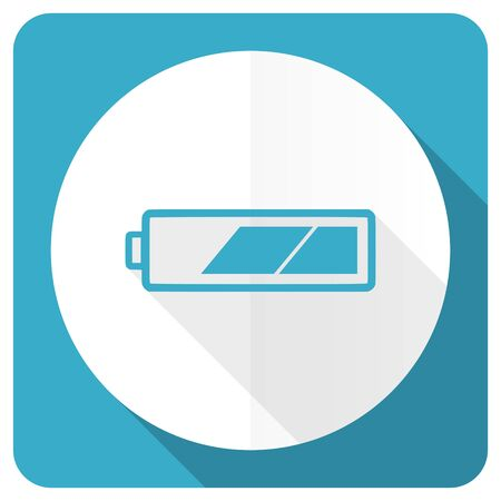 Battery Blue Flat Icon Charging Symbol Power Sign Stock Photo