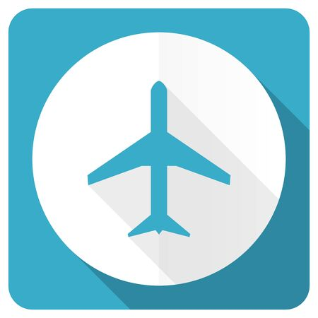 airport sign: plane blue flat icon airport sign