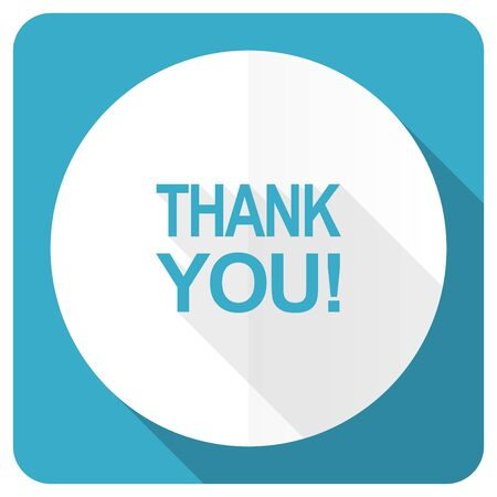 blue you: thank you blue flat icon Stock Photo