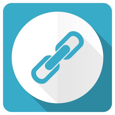 la union hace la fuerza: vincular icono azul plana signo cadena Foto de archivo