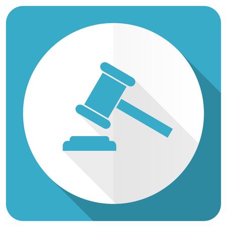 verdict: auction blue flat icon court sign verdict symbol
