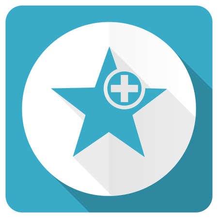 favourite: star blue flat icon add favourite sign
