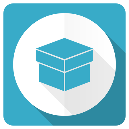 box blue flat icon photo
