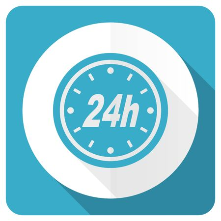24h: 24h blue flat icon