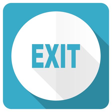 arrow emergency exit: exit blue flat icon Stock Photo