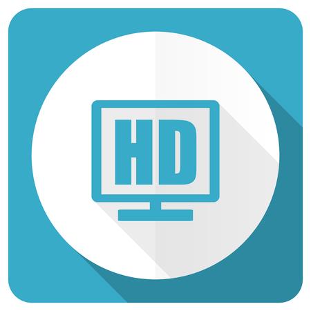 programm: hd display blue flat icon Stock Photo