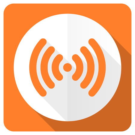 wireless hot spot: wifi orange flat icon wireless network sign Stock Photo