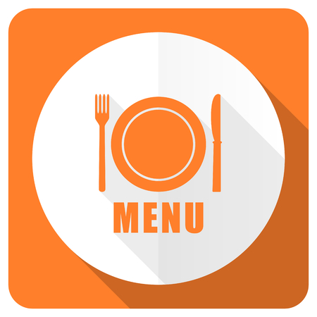 menu orange flat icon restaurant sign photo
